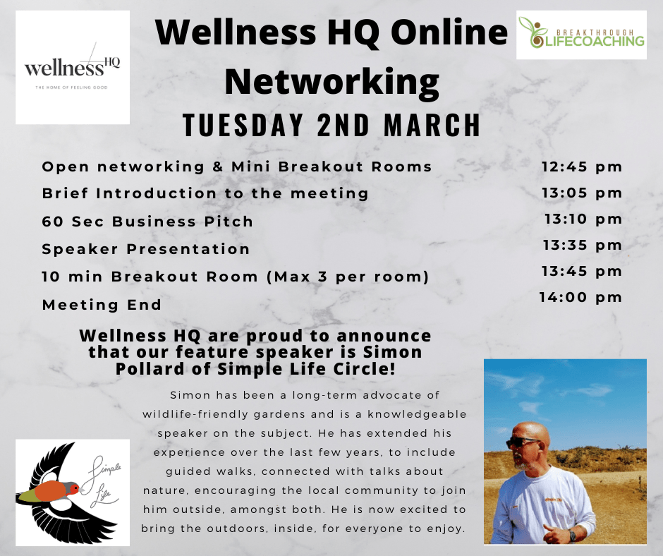 Wellness HQ Online Networking 2nd March Schedule